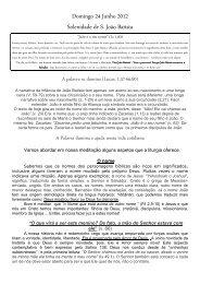 Domingo 24 Junho 2012 Solenidade de S. João Batista