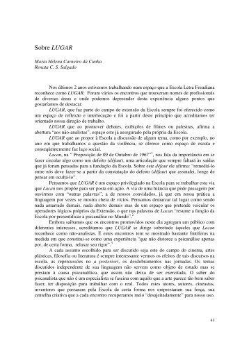 Sobre LUGAR - Escola Letra Freudiana