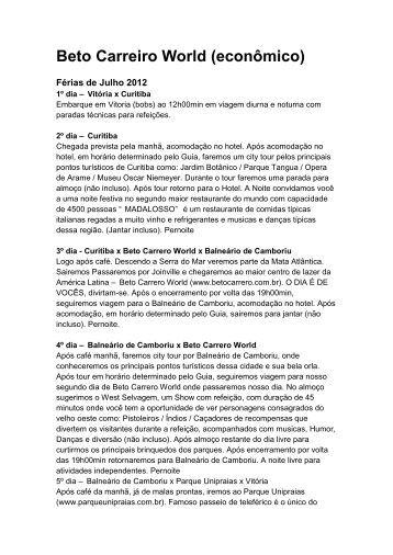 Beto Carreiro World (econômico) - Águia Viagens & Turismo