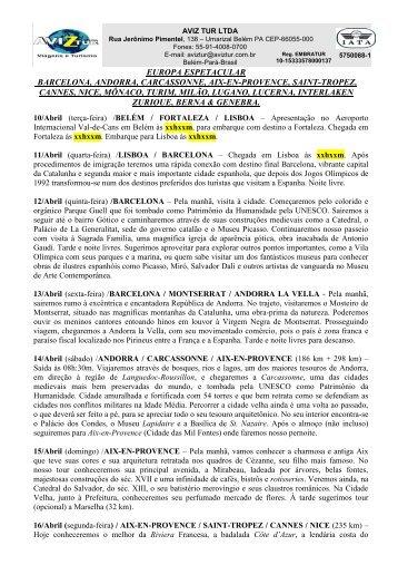 A AVIZTUR VIAGENS E TURISMO apresenta a ... - Aviztur.com.br