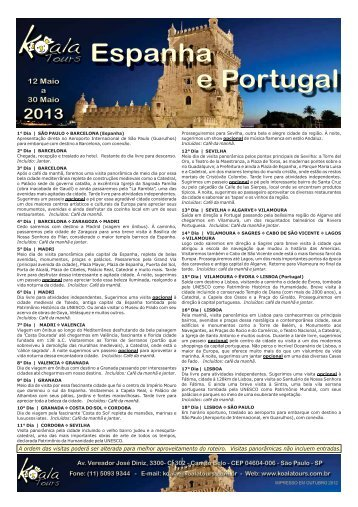 Espanha e Portugal - Maio 2013 - Koala Tours