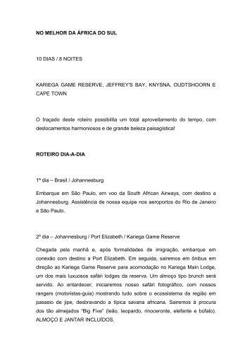 NO MELHOR DA ÁFRICA DO SUL 10 DIAS / 8 NOITES KARIEGA ...