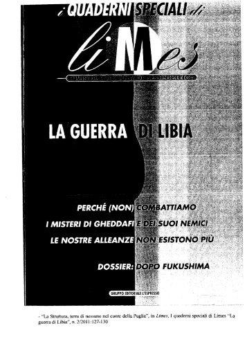 """- """"La Struttura, terra di nessuno nel cuore della Puglia"""", in Limes, I ..."""