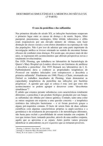 Penicilina e sulfamidas - Centro de Filosofia das Ciências da ...
