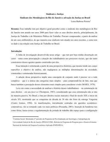 1 Sindicato e Justiça: Sindicato dos Metalúrgicos do Rio de ... - fflch