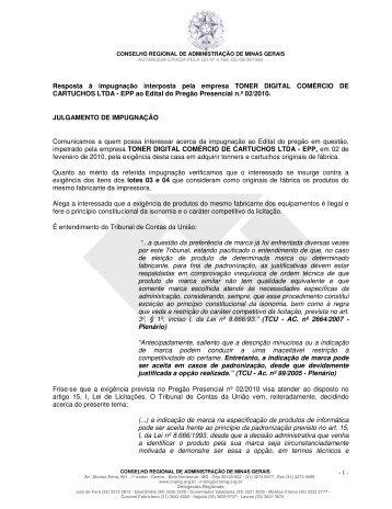 Resposta à impugnação interposta pela empresa ... - CRA-MG