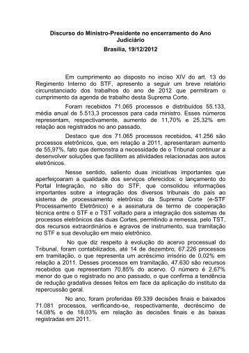 Discurso Encerramento Ano Judiciário 2012 - STF