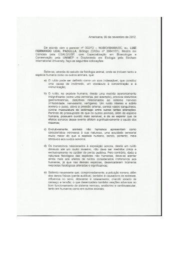 Parecer tecnico Luiz Padulla Biologo