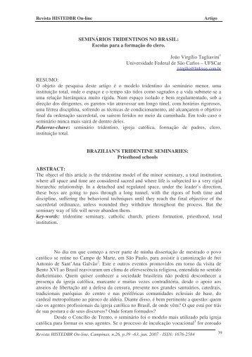 SEMINÁRIOS TRIDENTINOS NO BRASIL - histedbr - Unicamp