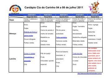 Cardápio Cia do Carinho 04 a 08 de julho/ 2011 - Grupo Caminho ...