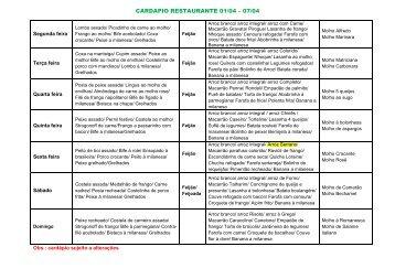 CARDAPIO RESTAURANTE 01/04 – 07/04
