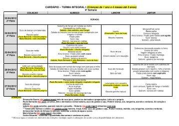 CARDÁPIO – TURMA INTEGRAL I (Crianças de 1 ... - Gira Girassol