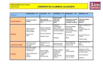 CARDÁPIO DO CLUBINHO JULHO/2010 - Unisantos