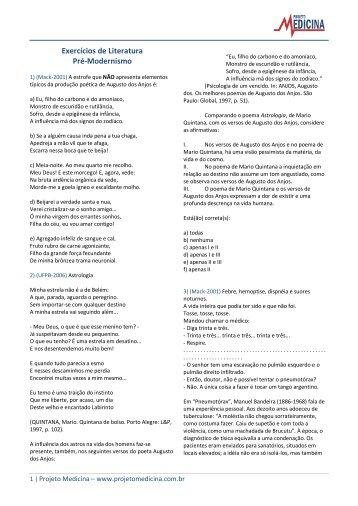 Exercícios de Literatura Pré-Modernismo - Projeto Medicina