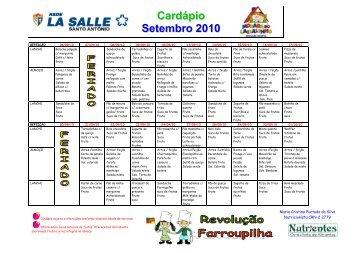 Cardapio La salle Santo Antonio Setembro 2010 - Portal La Salle