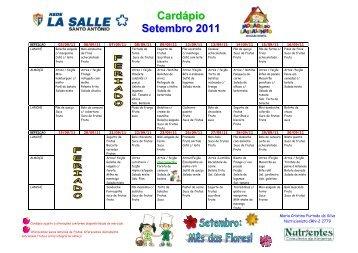 Cardapio La salle Santo Antonio Setembro 2011 - Portal La Salle