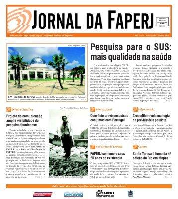 Clique aqui para baixar o Jornal da FAPERJ - Nº 5 - em arquivo PDF