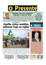 Desfile cívico mobiliza milhares hoje na região - O Presente
