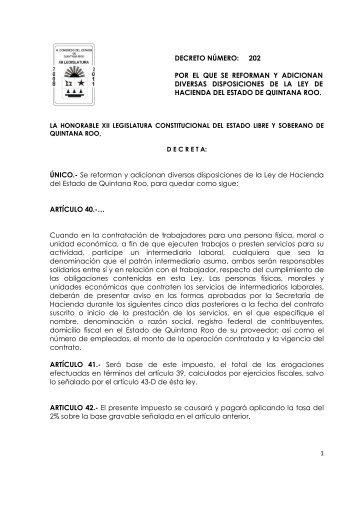 ÚNICO.- Se reforman y adicionan diversas disposiciones de la Ley ...