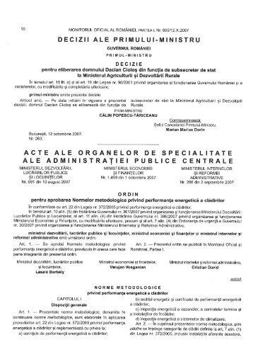 ORDIN nr. 691/08.10.2007 - Ministerul Dezvoltarii Regionale si ...