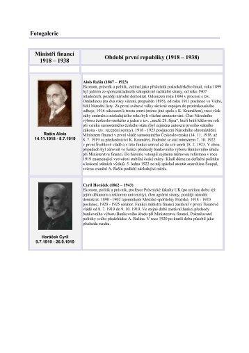 Fotogalerie Ministři financí 1918 – 1938 - Ministerstvo financí