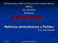 Reforma zdravotníctva v Poľsku - prezentácia INEKO