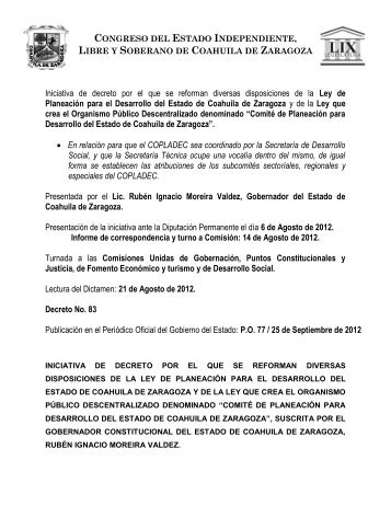 Iniciativa de decreto por el que se reforman diversas disposiciones ...