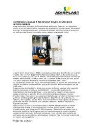 ADIRPLAST reforça a importância da distribuição sustenta de ...