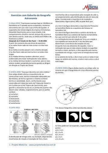 Exercícios com Gabarito de Geografia Astronomia - Projeto Medicina