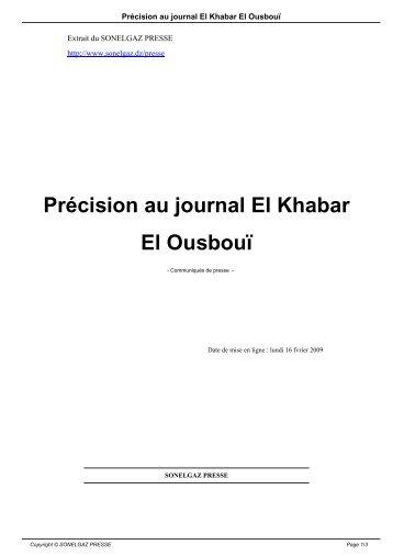 JOURNAL ELKHABAR ALGERIE TÉLÉCHARGER