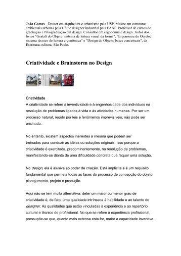 Criatividade e Brainstorm no Design - João Gomes