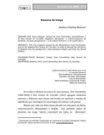 Rumores do tempo Andrea Cristina Muraro1 Novembro de ... - fflch