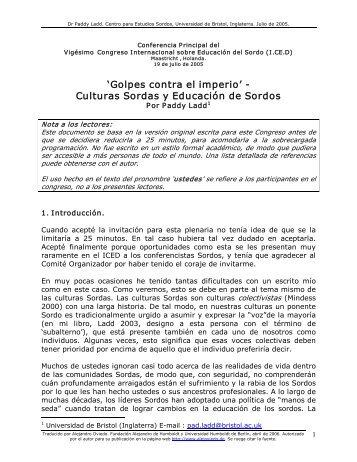 'Golpes contra el imperio' Culturas Sordas y ... - cultura Sorda