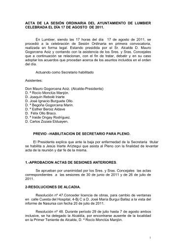acta sesión ordinaria 17 de agosto de 2011 - Ayuntamiento de ...