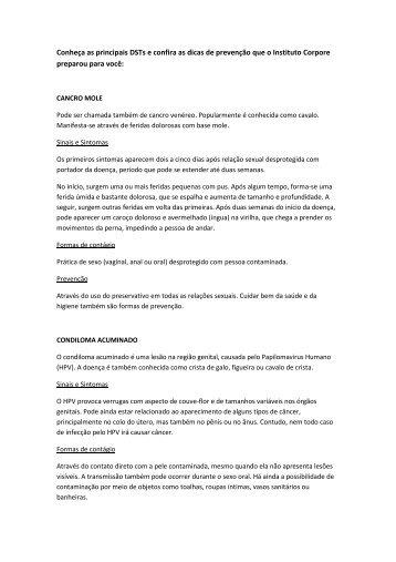 Conheça as principais DSTs e confira as dicas de ... - Instituto Corpore