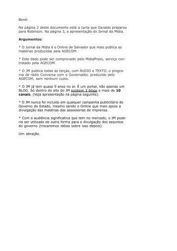 Na página 2 deste documento está a carta que ... - Jornal da Mídia