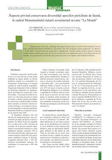 Aspecte privind conservarea diversităţii speciilor periclitate de faună ...