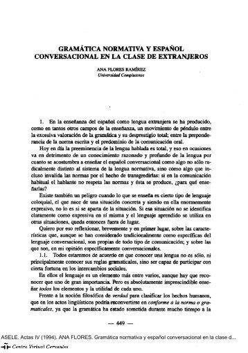 Gramática normativa y español conversacional en la clase de ...