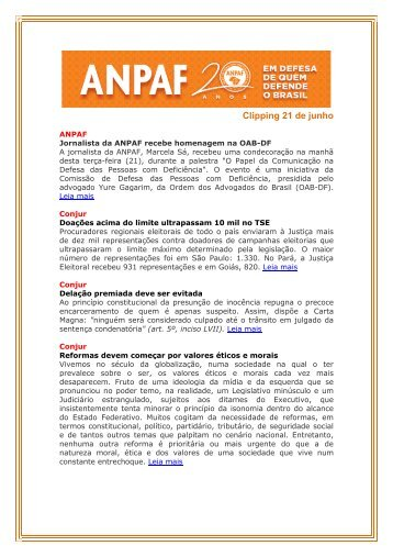 Clipping 21 de junho - ANPAF