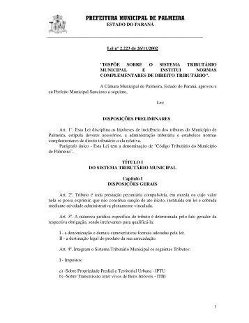 Sistema Tributário Municipal - Palmeira - Estado do Paraná