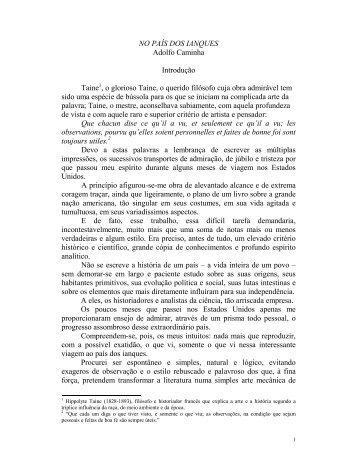 NO PAÍS DOS IANQUES Adolfo Caminha Introdução ... - Livros Grátis