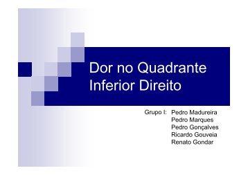 Dor no quadrante inferior direito do abdómen - CC03/09