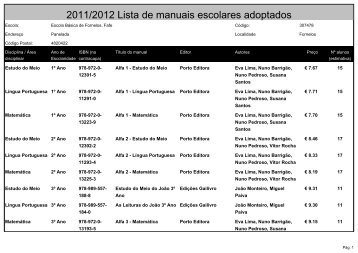 2011/2012 Lista de manuais escolares adoptados - Agrupamento ...