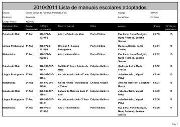 2010/2011 Lista de manuais escolares adoptados - Agrupamento ...