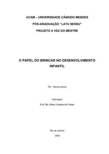 O PAPEL DO BRINCAR NO DESENVOLVIMENTO INFANTIL