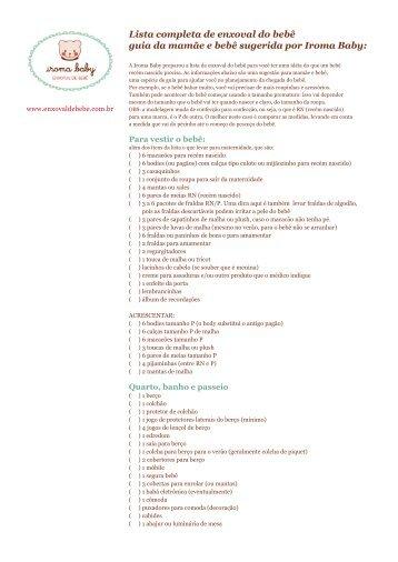 Lista completa de enxoval do bebê guia da mamãe e ... - Iroma Baby