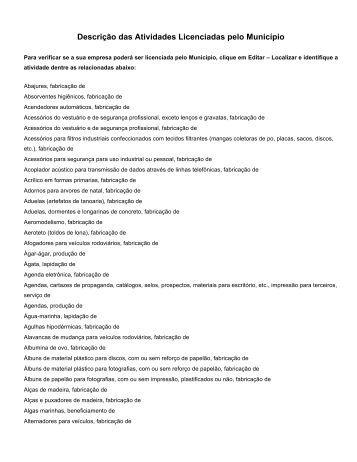 Descrição das atividades licenciadas no município - Valinhos