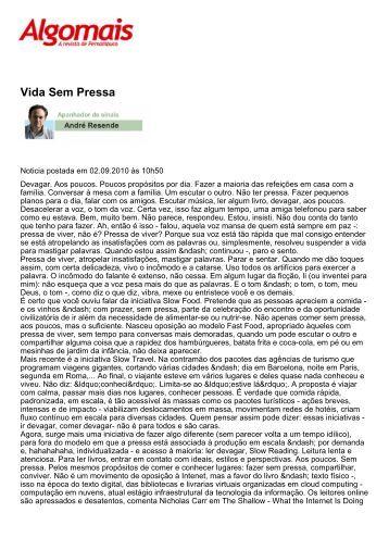 Vida Sem Pressa - Revista Algomais