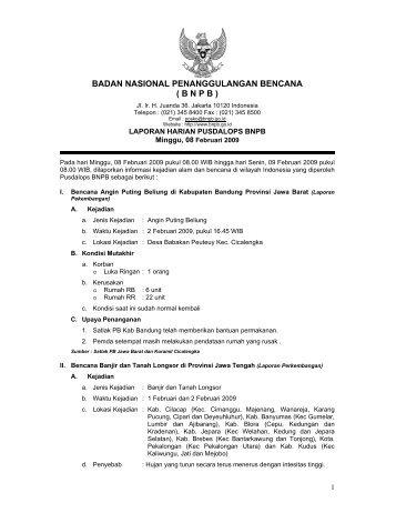 Laporan Harian 8 Februari 2009 - BNPB (Badan Nasional ...