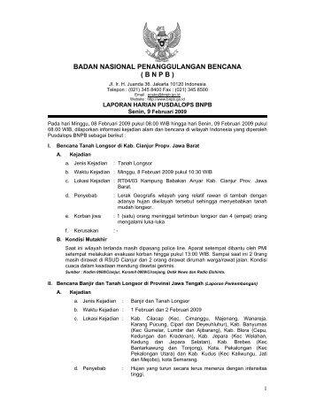 Laporan Harian 9 Februari 2009 - BNPB (Badan Nasional ...